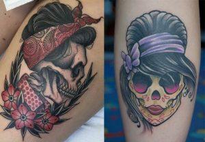 tatuajes calaveras pin up