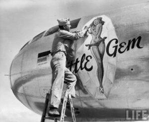 Dibujo de chicha pin up en avión.